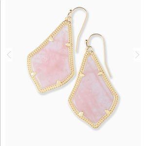 Alex Gold Drop Earrings In Rose Quartz